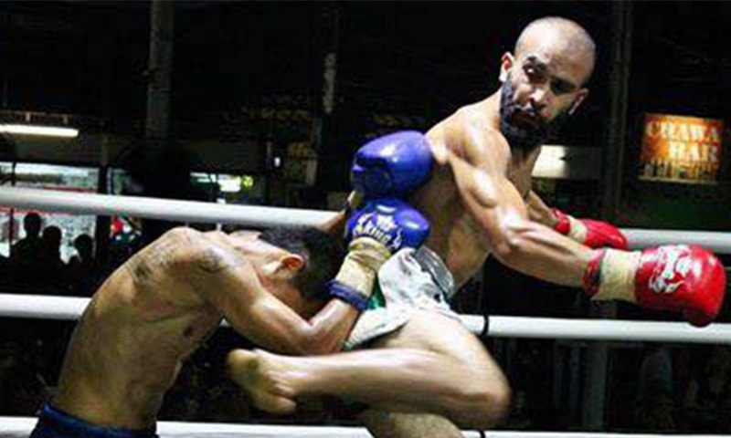 Pakistan's mixed martial arts fighter Uloomi Karim downs India's Yadwinder Singh