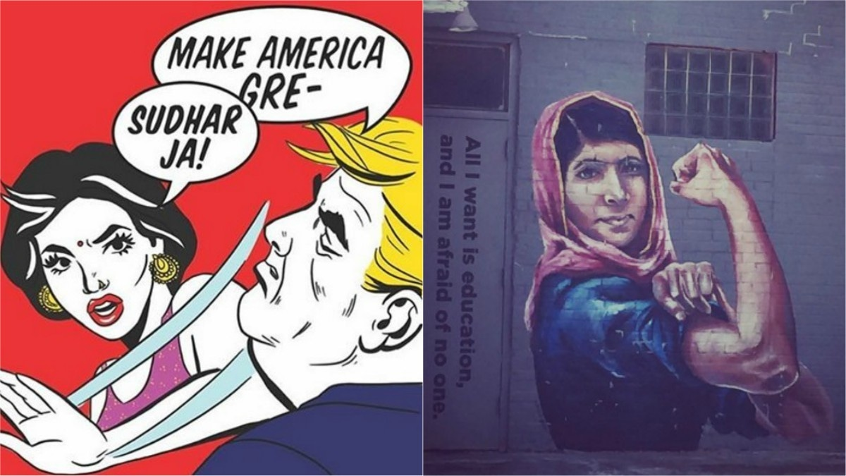 From L-R: Artwork by Hate Copy and Malala graffiti in the heights of Houston