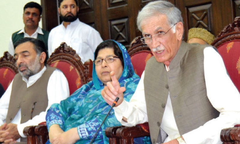 Chief Minister Pervez Khattak addressing media persons in Peshawar on Tuesday. — INP