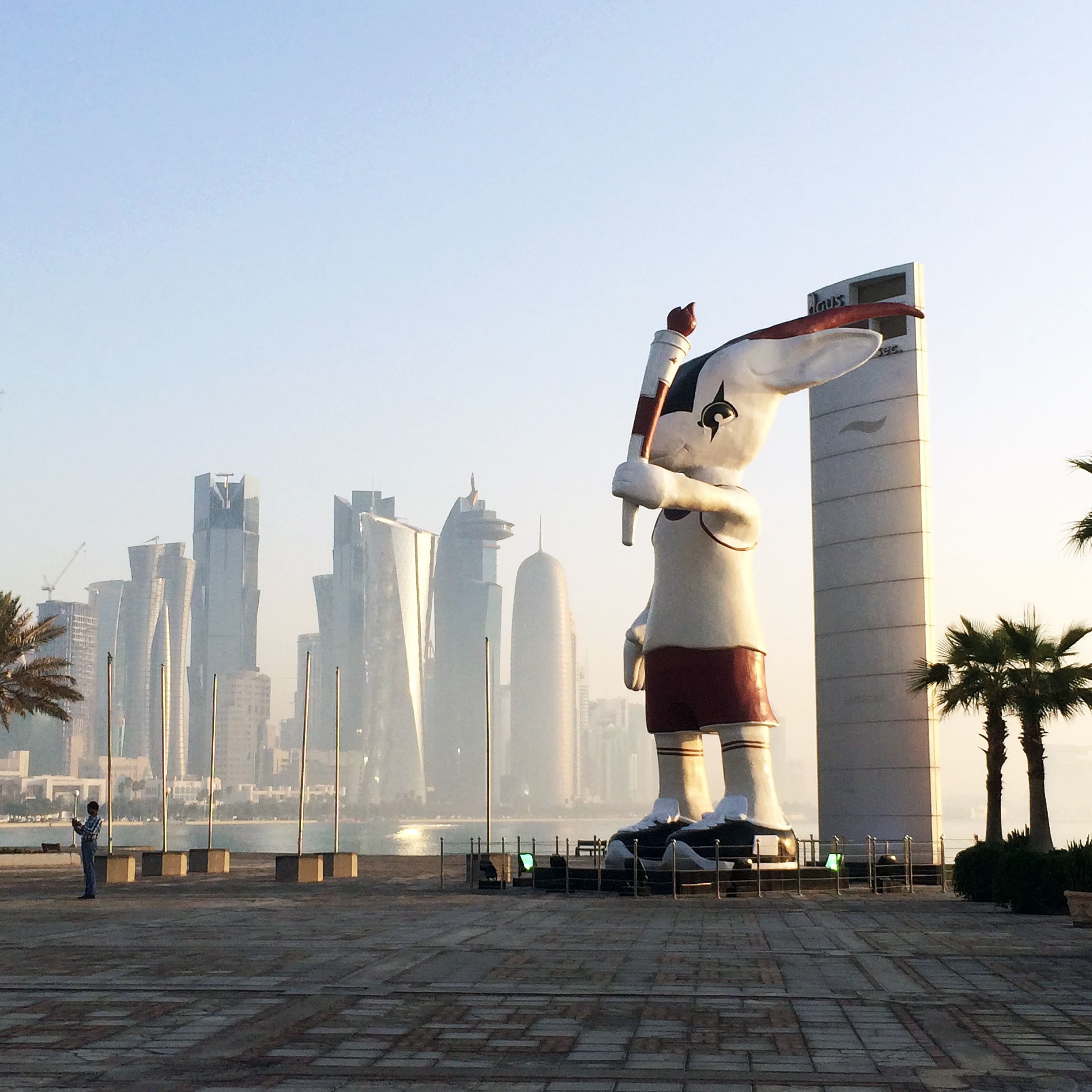 Orry the Oryx — the official mascot of the 2006 Asian games. It is now a permanent fixture on the Doha Corniche.