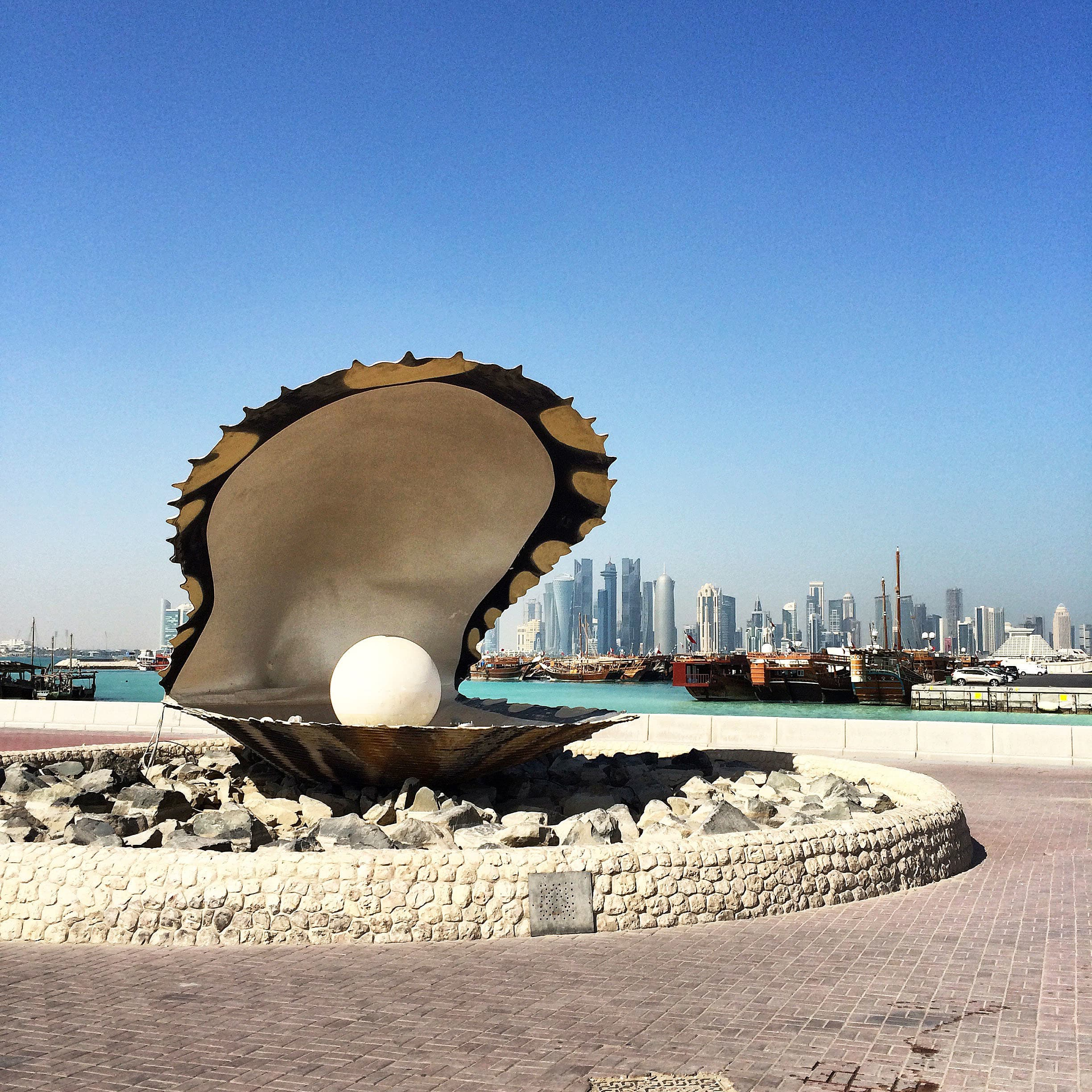 The pearl monument on Doha Corniche.