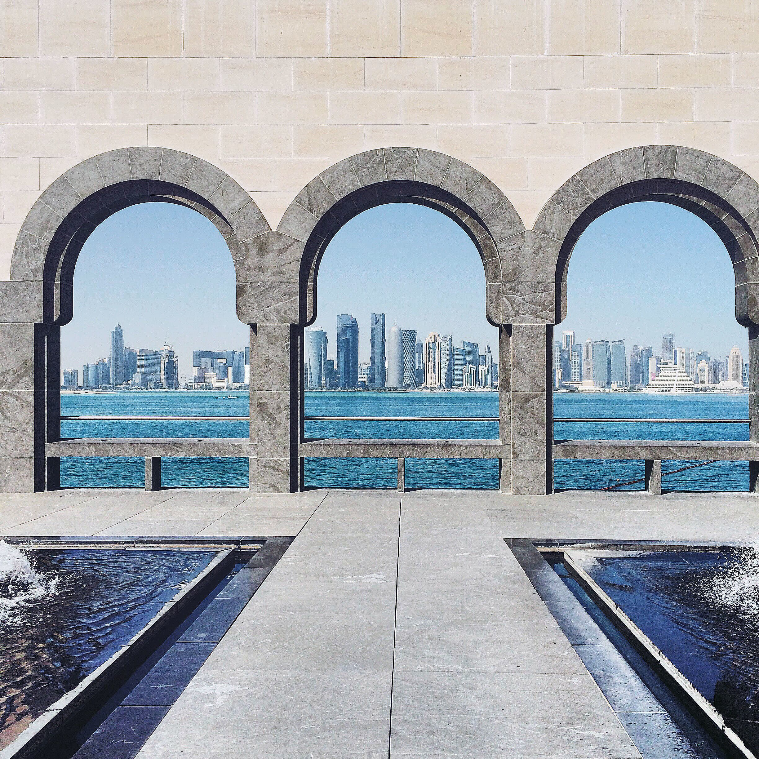 Built on reclaimed land, the area around the MIA offers some of the most glorious views of the Doha skyline.