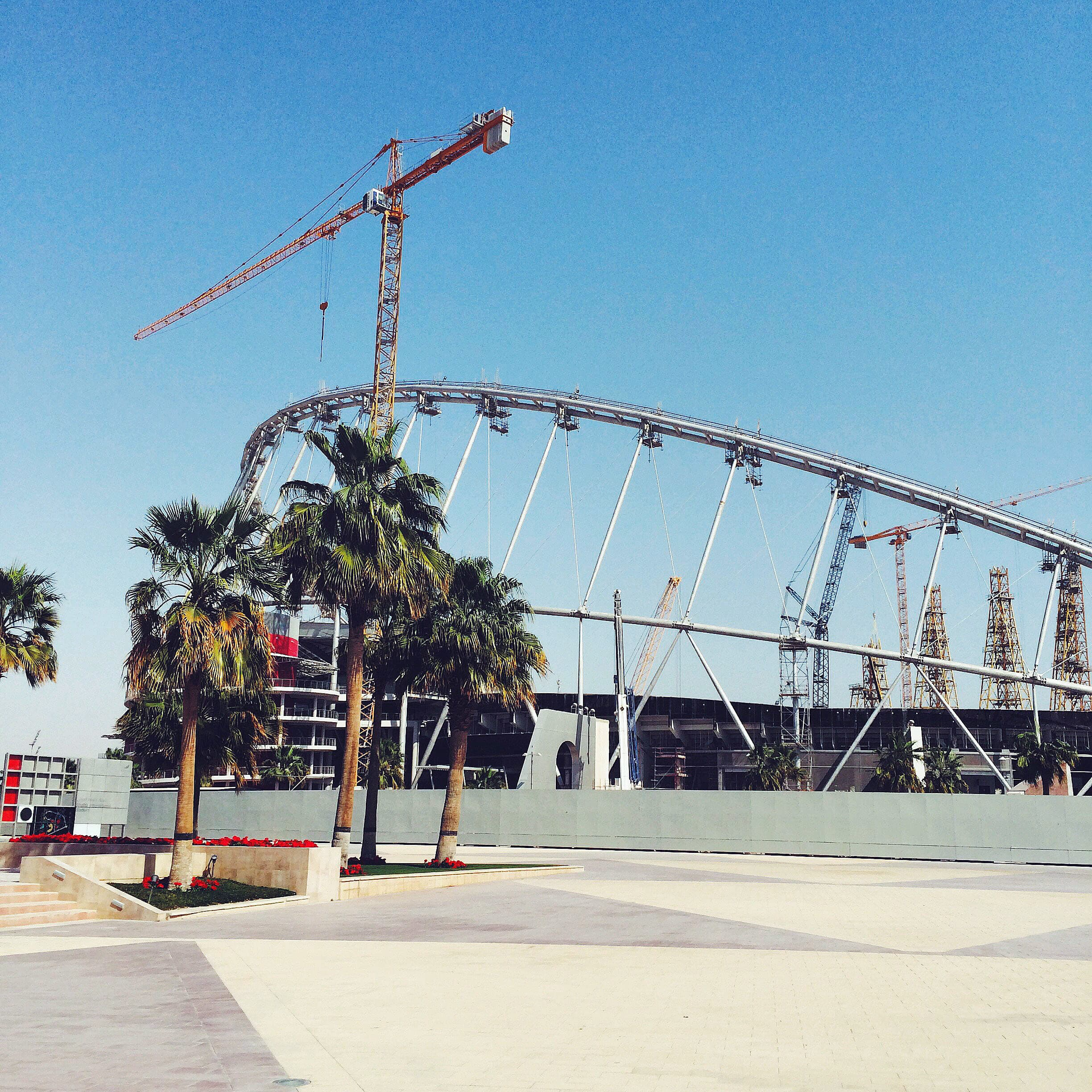 A football stadium under construction in Doha for the 2022 FIFA World Cup.