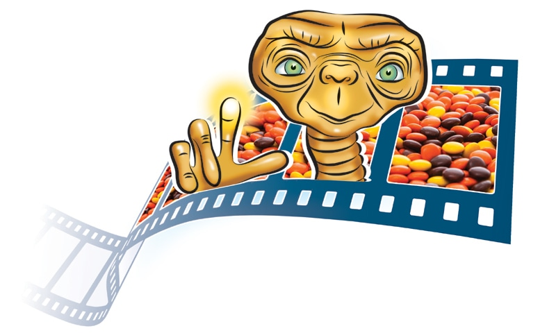After its integration in the movie 'ET', Reese's Pieces' sales increased drastically./Illustration by Creative Unit.