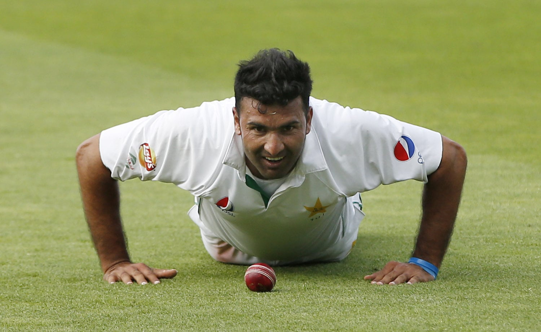 Pakistan's Sohail Khan celebrates his 5 wicket haul. — Reuters