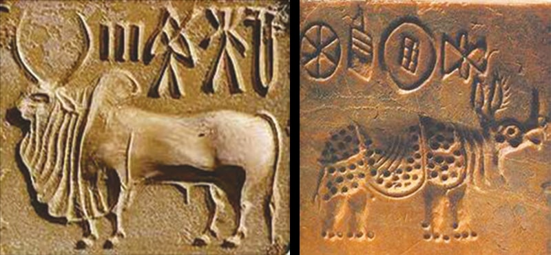 Terracotta seals with the Indus script on them, such as these seen above, are among the relics unearthed at Indus Valley sites.