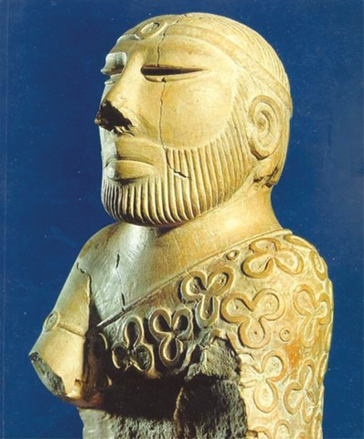 'The Priest King' sculpture that was found at Mohenjo-Daro. — National Museum Karachi
