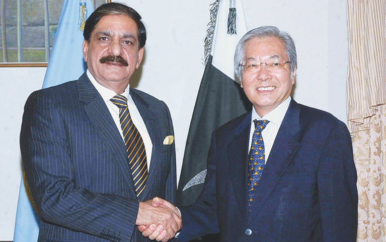 ISLAMABAD: National Security Adviser retired Lt Gen Nasser Khan Janjua shakes hands with Tadamichi Yamamoto, the Special Representative of the Secretary General for the United Nations Assistance Mission in Afghanistan, prior to a meeting at the PM Secretariat on Thursday.—APP