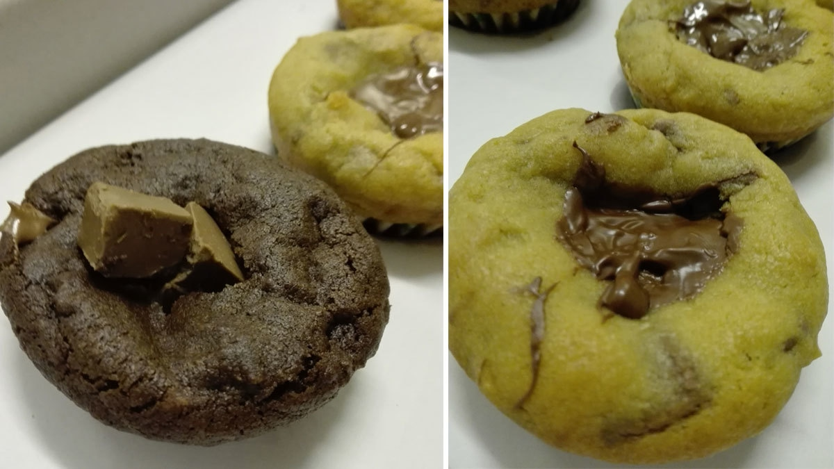 Left: The notorious triple chocolate cookie cup. Right: Nutella cookie cups. All lined perfectly.