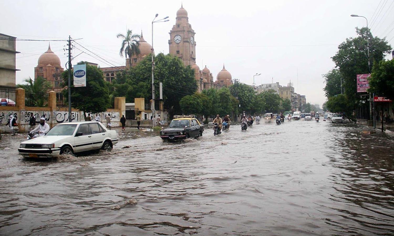 A flooded M A Jinnah Road, Karachi —Online