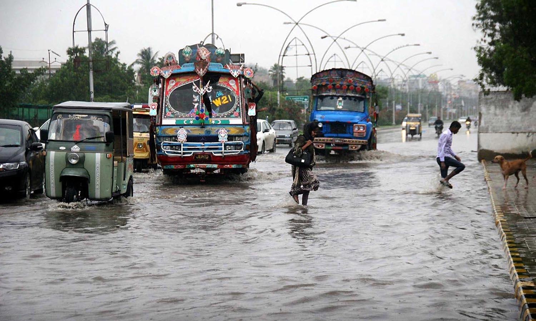 The scene of Korangi Road after heavy monsoon rain in Karachi. —Online