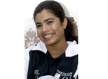Rubab Raza was the first female to swim for her country in Athens | AFP