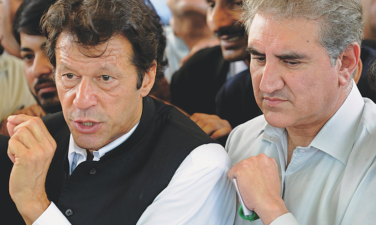 Pakistan Tehreek-e-Insaf chief Imran Khan and Qureshi speak to the press | Tanveer Shahzad, White Star