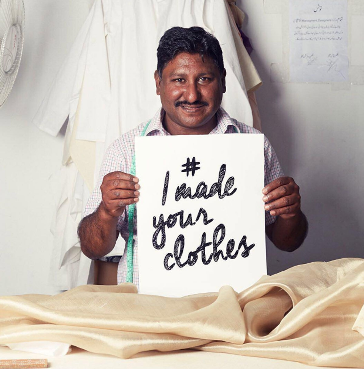 Meet Master Riaz - friendly, precise and extremely good at his work and yes he's the one who makes the patterns of your beautiful bridals. We honour all the people behind the scenes to make fashion possible. #imadeyourclothes #respect #love #fashion - Instagram