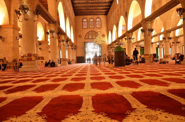 Inside the Al-Aqsa mosque.