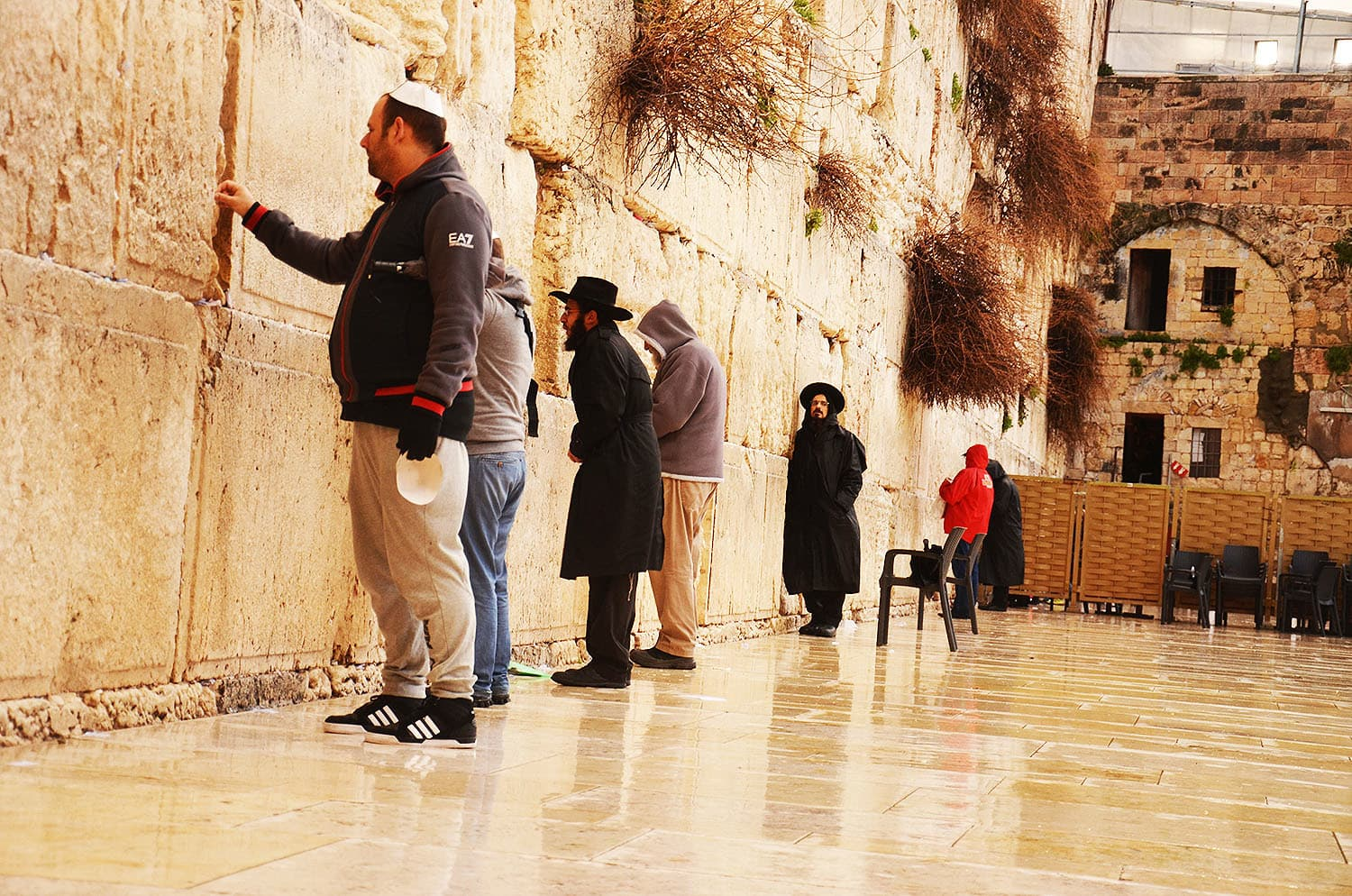 Jews praying at the Western Wall in Jerusalem.