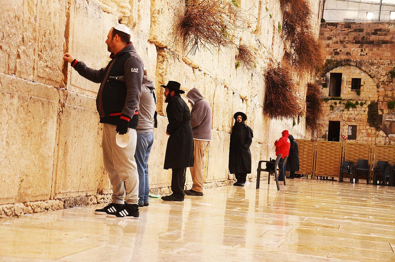 Jews praying at the Western Wall in Jerusalem.