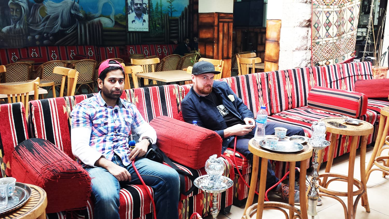 Having sheesha at the Balanda Cafe in Ramallah.