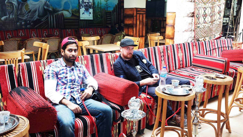 Having sheesha at the Balanda Cafe in Ramallah.