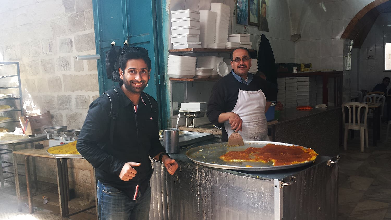 Famous kunafeh in Nablus.