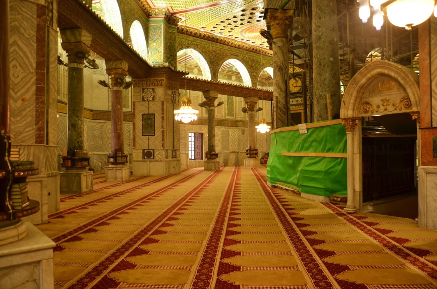 Inside the Dome of the Rock.