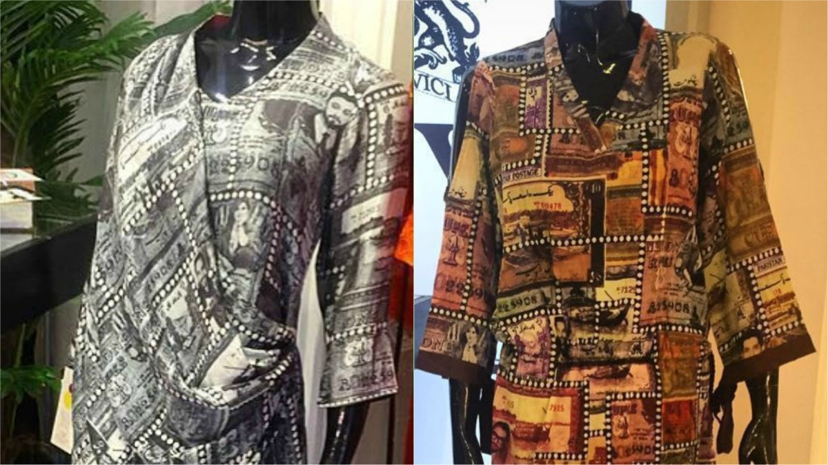 HSY's digitally printed tunics boast the imagery of the oldest Pakistani rupee