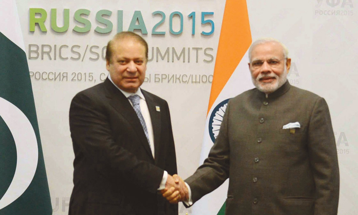 Pakistan Prime Minister Nawaz Sharif  and Indian Prime Minister Narendra Modi shake hands at the BRIC/SCO Summits in Ufa, Russia on July 10, 2015