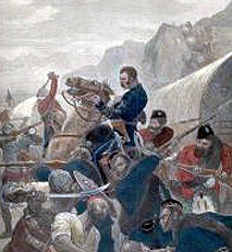 A 19th century painting showing British forces warring with Syed Ahmed Barelvi's men in present-day KP.