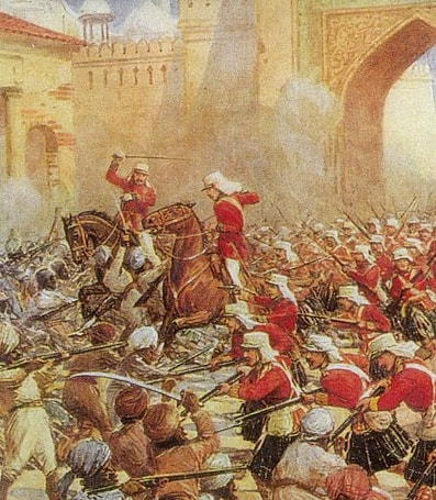 British soldiers clash with the mutineers.