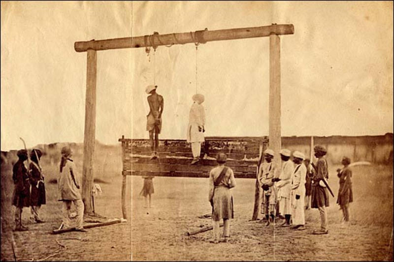 A Muslim and a Hindu rebel hanged by the British after the Mutiny was crushed.