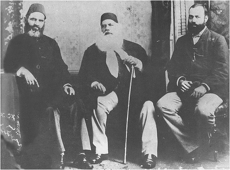 Sir Syed with the first Muslim high court judge (left) and his son right).
