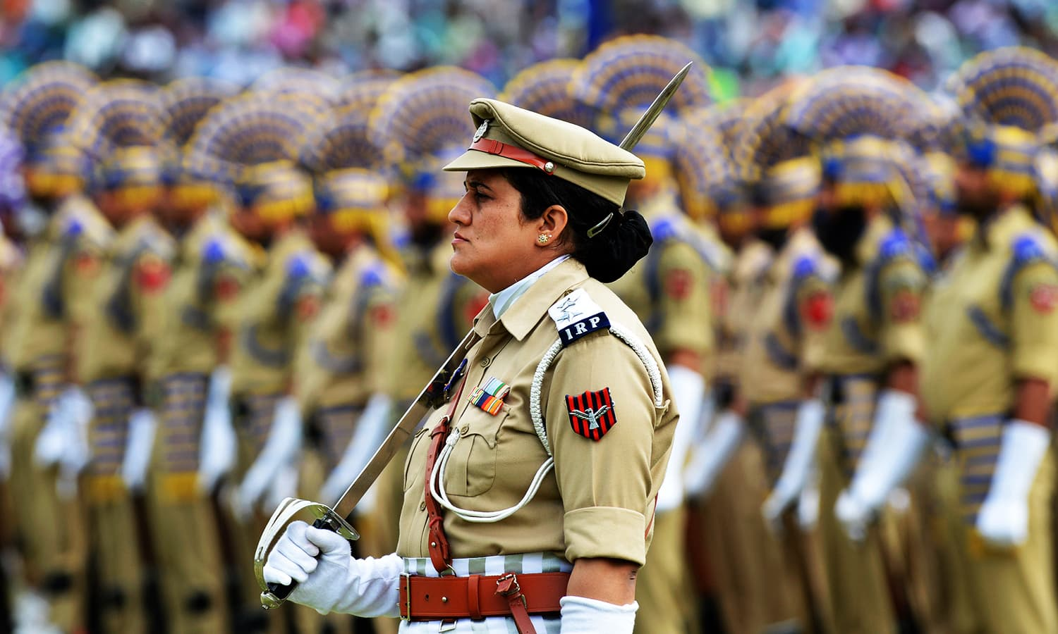 Indian Reserve Police (IRP) personnel take part in celebrations marking Independence Day at The Bakshi Stadium in Srinagar on, 2016 — AFP