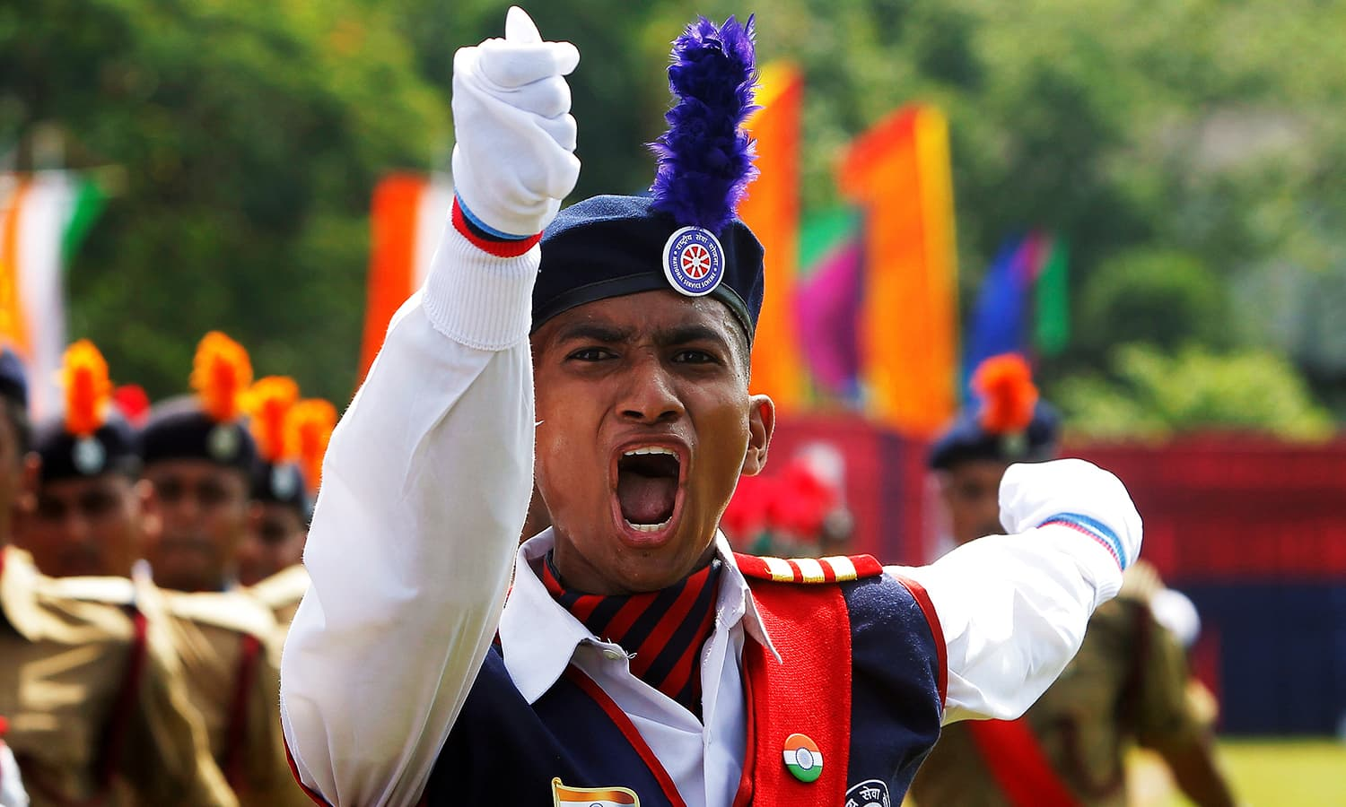 A cadet from the National Cadet Corps (NCC) shouts commands at a parade during India's Independence Day celebrations in Agartala, India, August 15, 2016. ─ Reuters