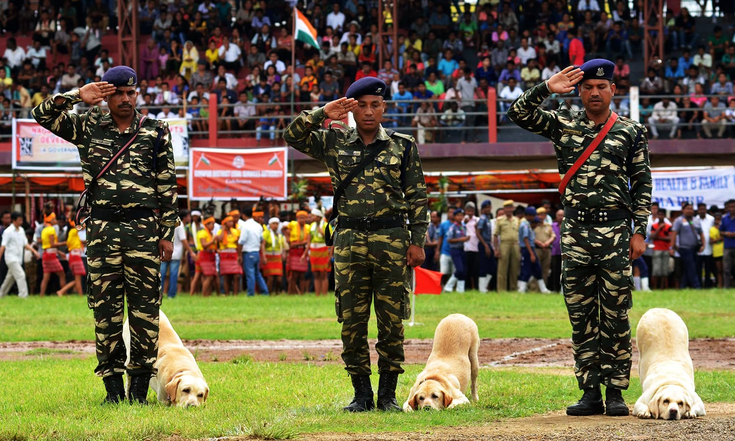 Indian Central Reserve Police Force (CRPF) soldiers and their dogs salute during India Independence Day celebrations at Dimapur on August 15, 2016. ─ AFP