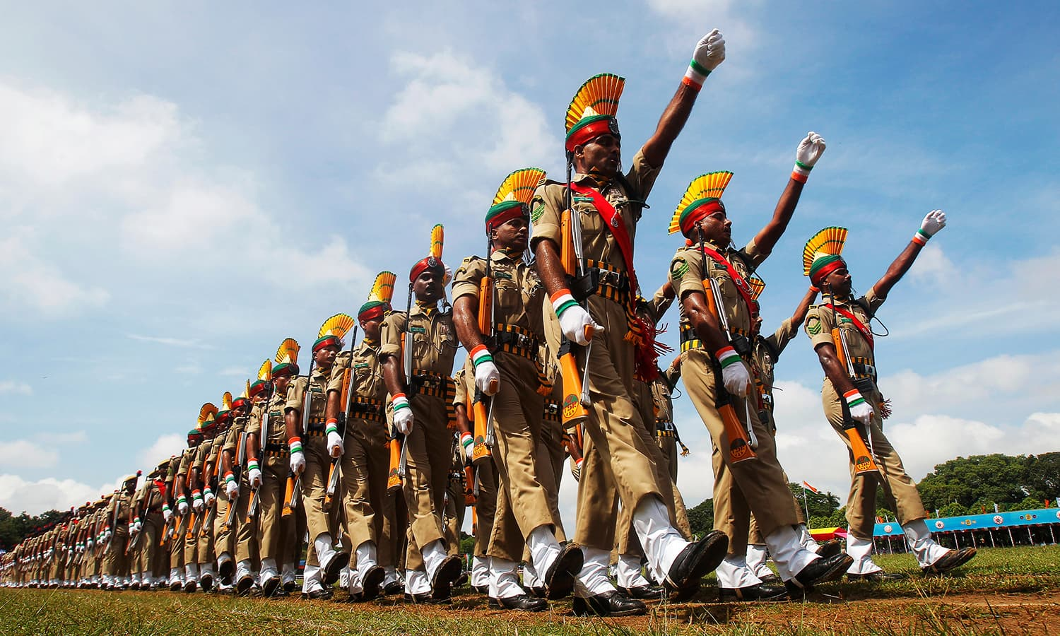 Indian paramilitary soldiers march at a parade during country's Independence Day celebrations in Agartala, India, August 15, 2016. ─ Reuters