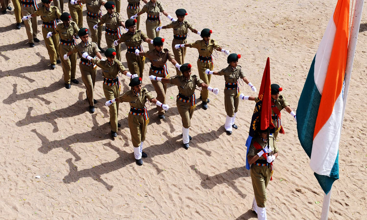 National Cadet Corps(NCC) students march during Indian Independence Day celebrations at Saint Francis Girls High School in Secunderabad, the twin city of Hyderabad on August 15, 2016. ─ AFP
