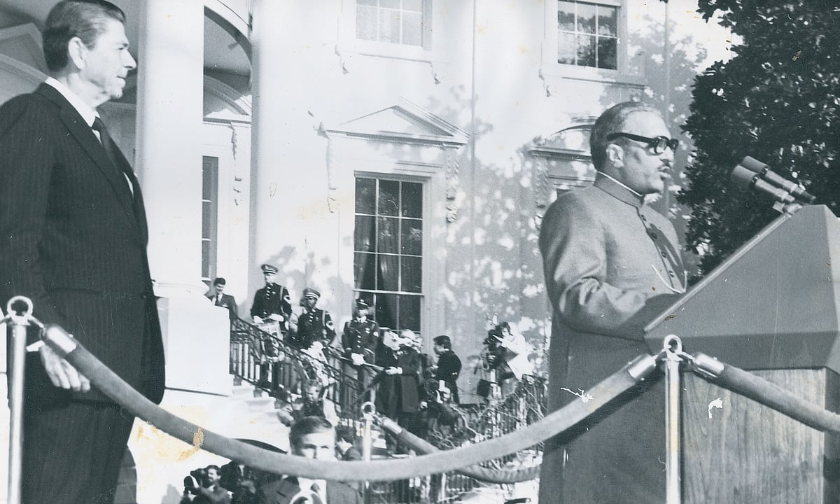 General Mohammad Zia ul-Haq addressing a White House State Ceremony in Washington in 1982. — Dawn archive