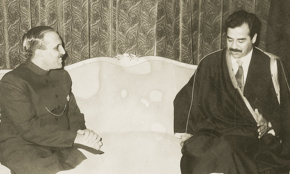 President General Mohammad Zia-Ul-Haq , in a meeting with Iraqi President Mr. Sadddam Hussain on January, 28,1981 | WHITE STAR ARCHIVES