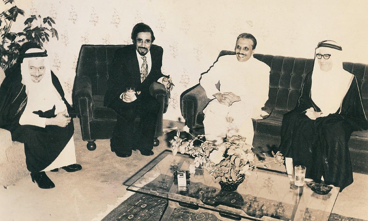 Genreal Mohammad Zia ul Haq with Sheikh Riyadh Al Khatib, Ambassador of Saudi Arabia on the occasion of Saudi National Day's Reception in Islamabad on September 24, 1979 | WHITE STAR ARCHIVES