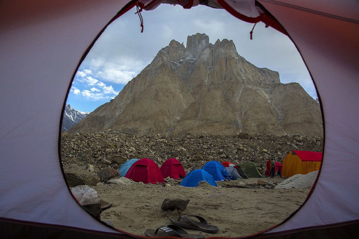 I woke up to a view of the Giant Trango from my tent.