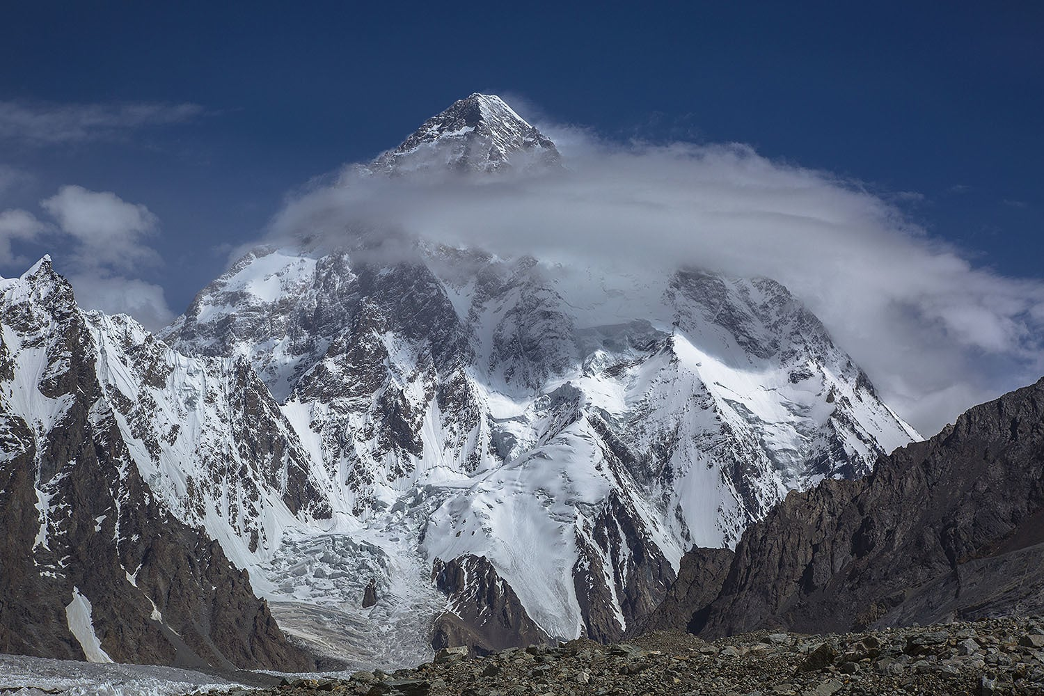 Enroute to the K2 Base Camp. The clouds covered K2 like a halo on an angel.