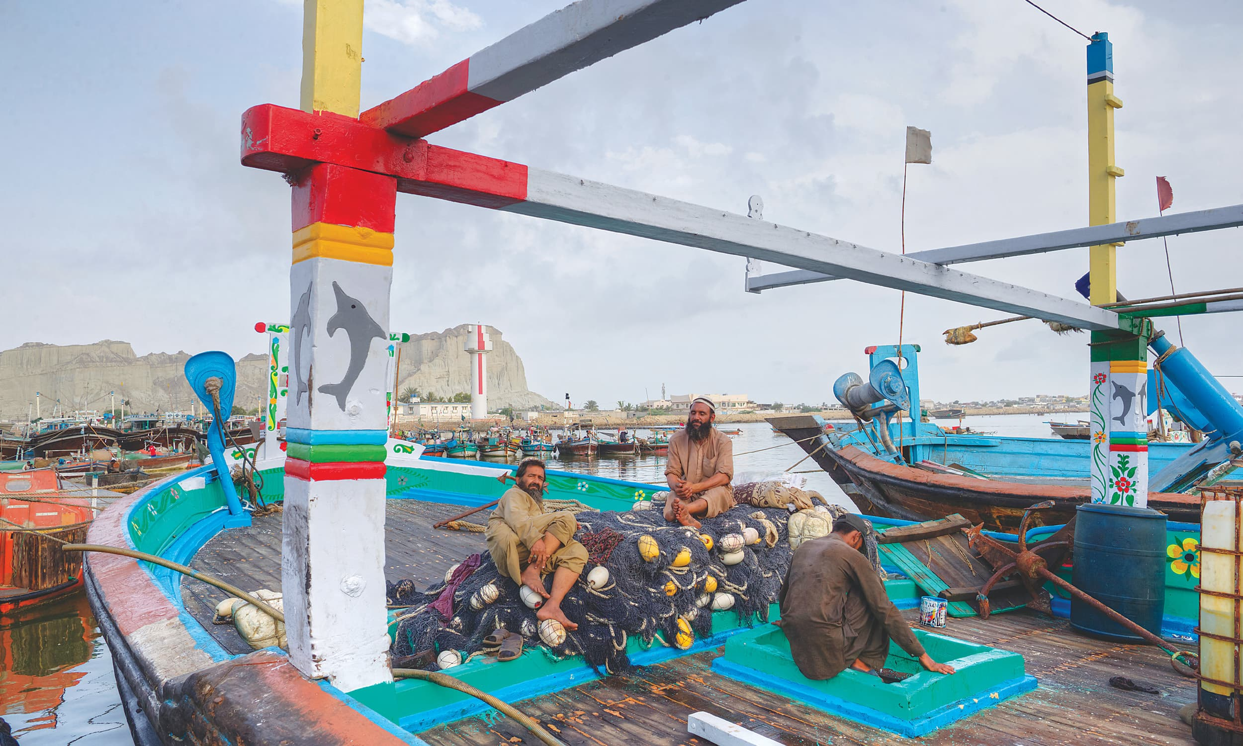Fishermen at the Gawadar fish market, which will be relocated to allow for the expansion of the port | Kohi Marri