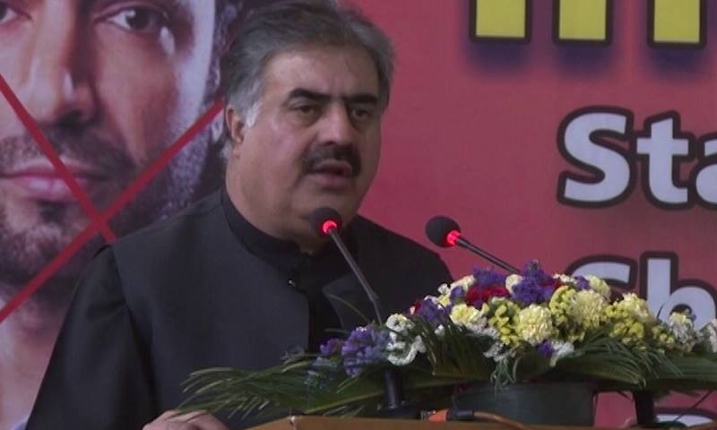 Balochistan CM Sanaullah Zehri addressing a rally. ─ DawnNews
