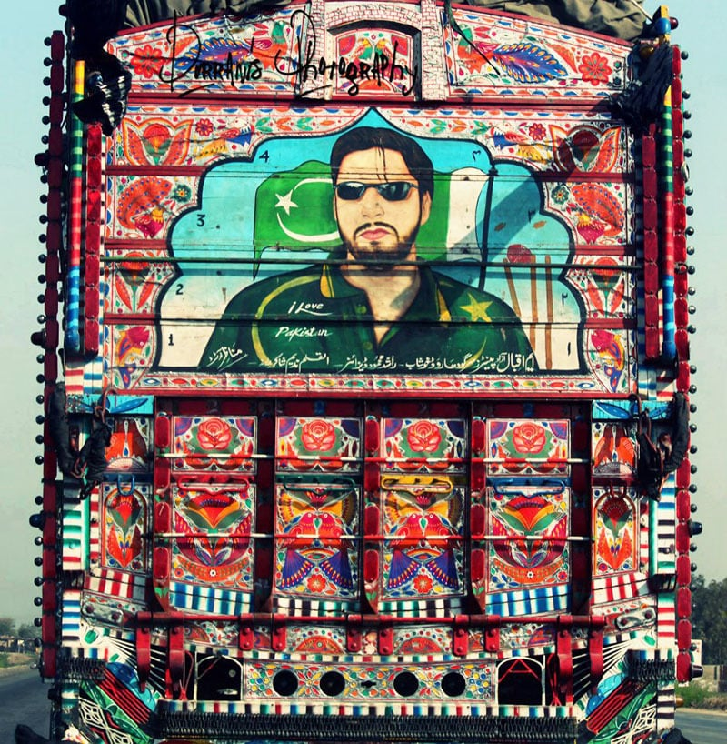 Swashbuckling Pakistani cricketer, Shahid Afridi, on a truck in Khyber Pakhtunkhwa.