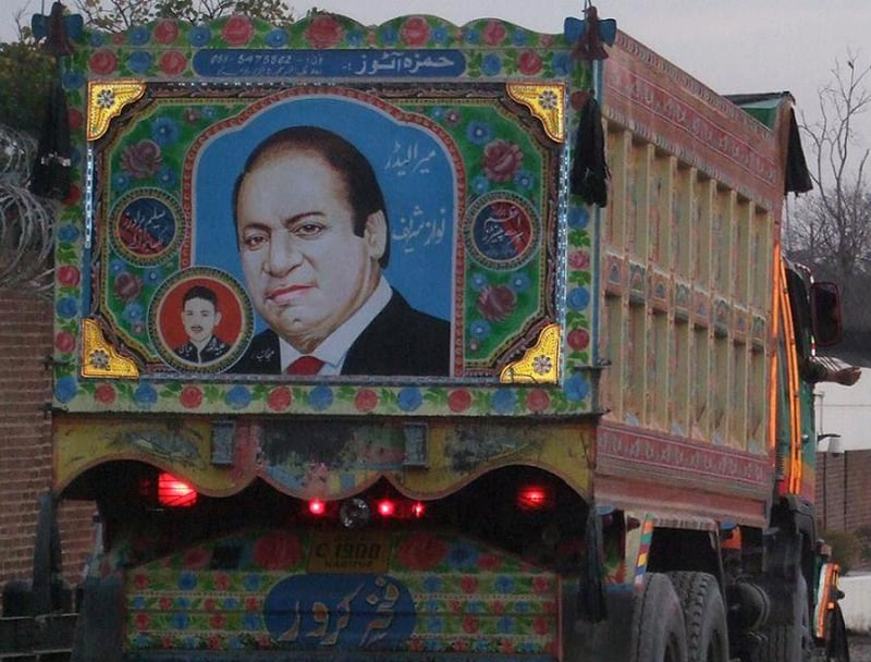 Current prime minister, Nawaz Sharif, on a truck in Punjab.