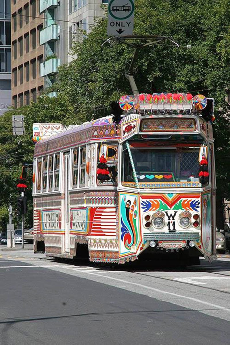 A tram in Australia with designs and decoration inspired by Pakistan's truck art.