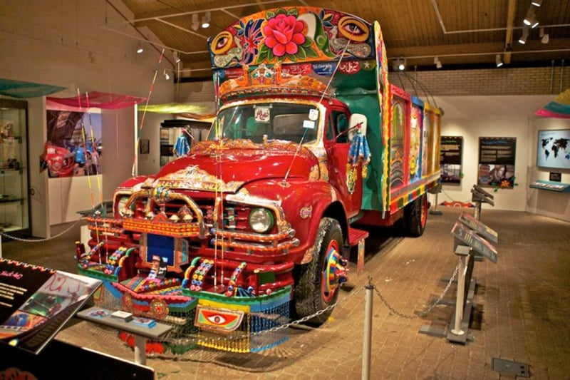 A Pakistani truck at a truck art exhibition in the UK.
