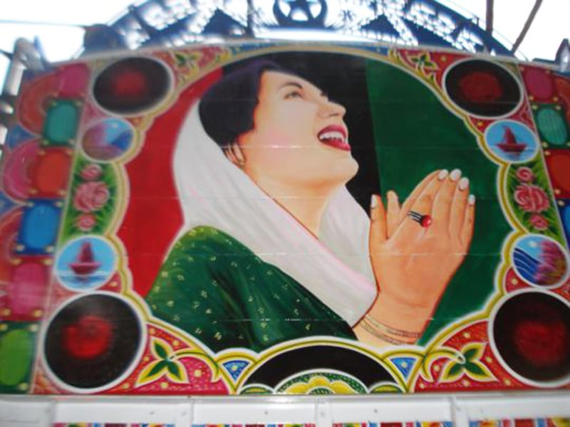 Former prime minister, late Benazir Bhutto, on the back of a truck in Karachi.