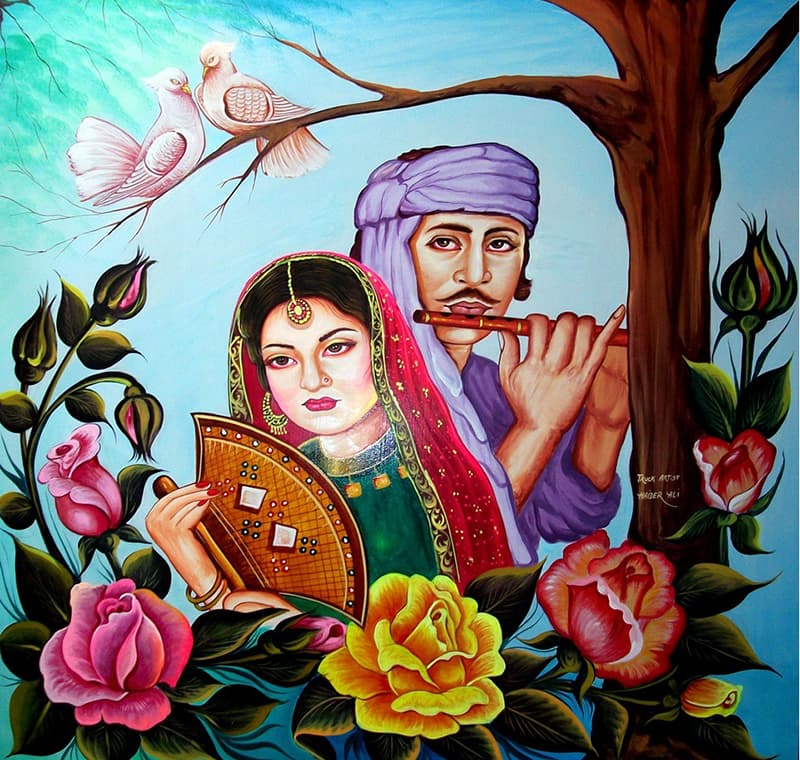 Reproduction of a famous image of Pakistan's truck art in the 1970s. It shows film actor Ejaz and actress Firdous in a scene based on a romantic folklore.