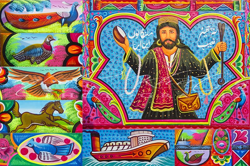 Art on a present-day truck harking back to the decades-old practice of painting portraits of Sufi saints and spiritual vagabonds (fakirs) on lorries.